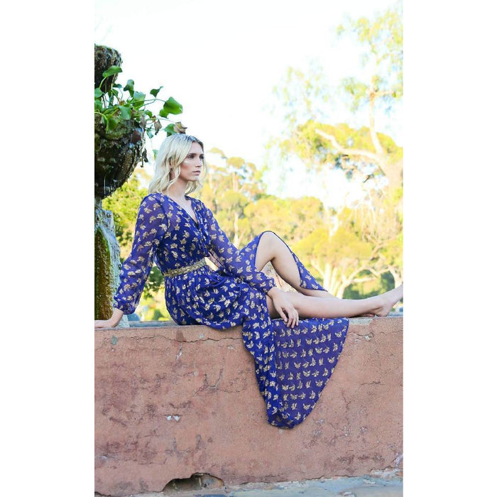Ginkgo Leaf Button Down Maxi in Cobalt Blue + Gold