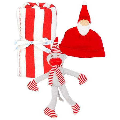 Holiday Receiving Blanket, Santa Hat and Monkey Gift Set