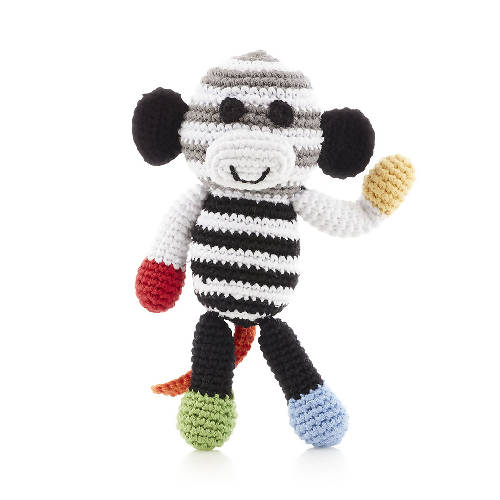 Monkey Rattle Black White