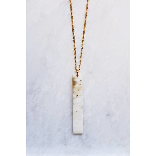 Tinh 16K Gold-Plated Brass Buffalo Horn Minimalist Bar Pendant Necklace