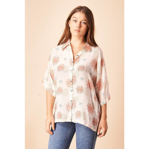 Seascape Silk Kimono Blouse in Cream + Rose