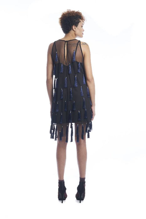 Flapper Chic Tassel Dress in Black + Sapphire
