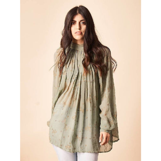 Blooming Floral Hi Neck Blouse in Sage + Gold
