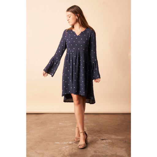 Baby Cacti Trapeze Dress in Navy + Cream