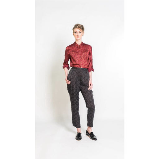 Silky Sketched Plaid Trousers in Black and Grey