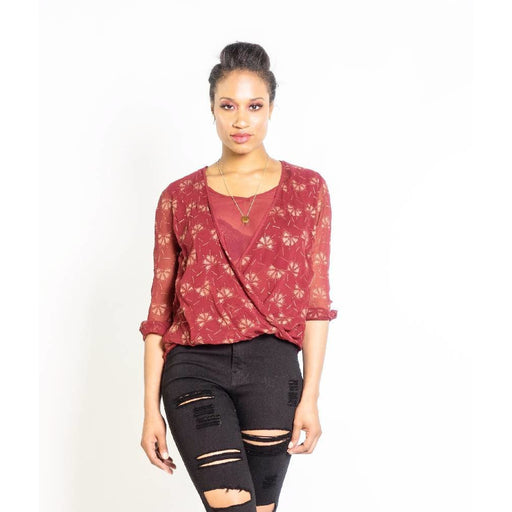 Dancing Fans Wrap Blouse in Berry & Copper
