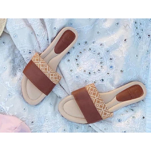Tatreez Slide Sandal - Chestnut Brown