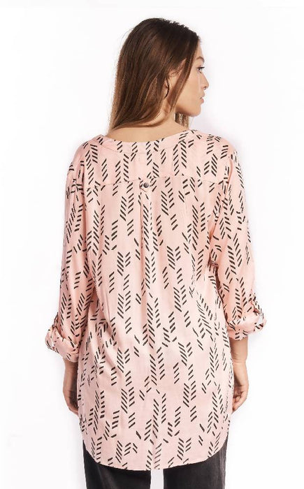 Stylized Feather Tunic in Rose + Black