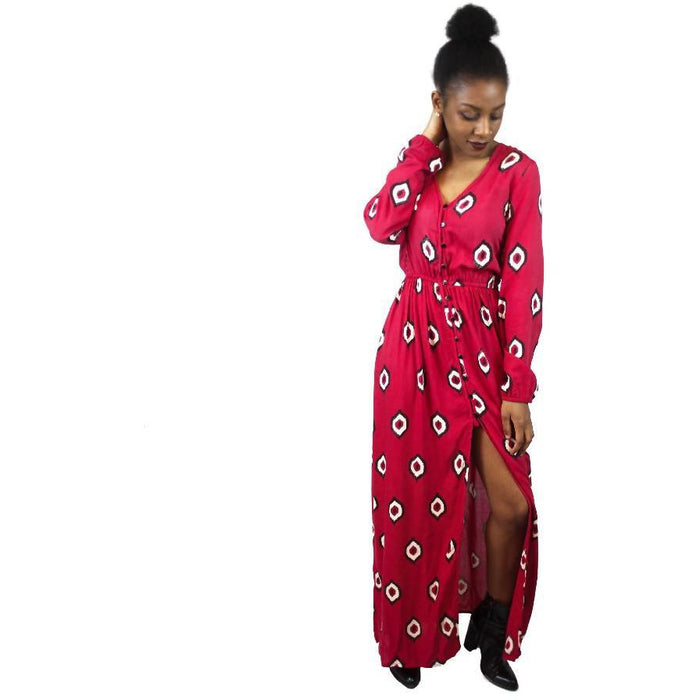 Eye of the Ikat Maxi Dress in Red + Black + Cream