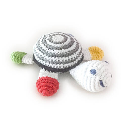 Sea Turtle Rattle Black White