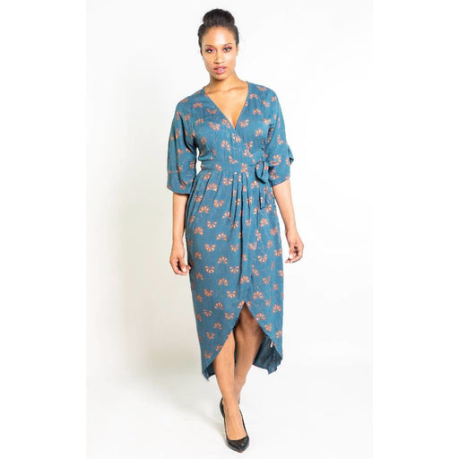 Dancing Fans Kimono Maxi Wrap in Teal & Copper