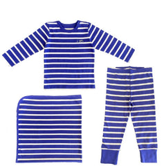 The Olen Stripe Pajama Set with Blanket, Cobalt