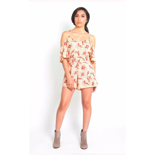 Hibiscus Flower Cold Shoulder Romper in Blush & Berry Gold