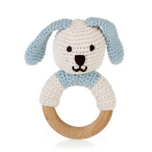 Organic Wooden Teething Ring Bunny Blue