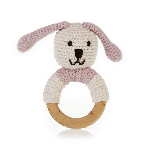 Organic Wooden Teething Ring Bunny Pink