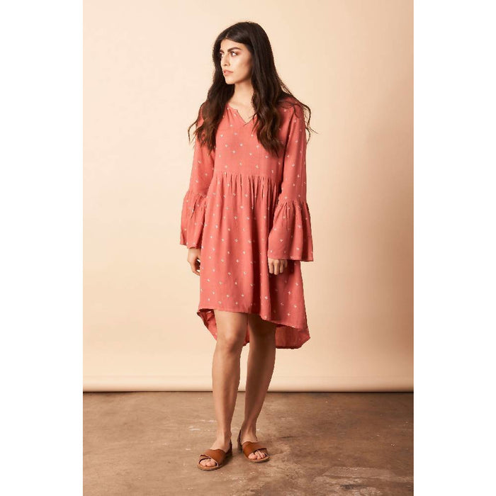 Baby Cacti Trapeze Dress in Coral + Cream