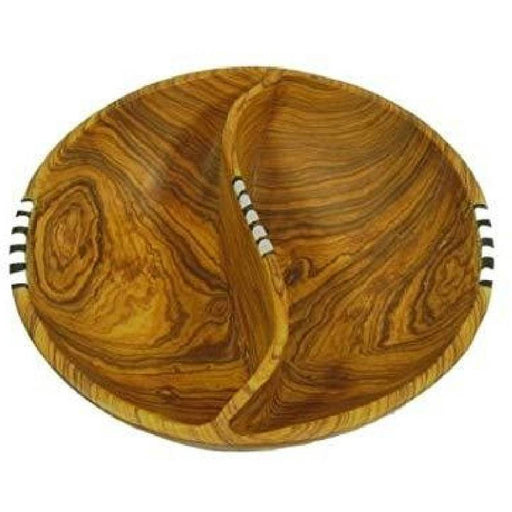 "8"" Pistachio Divided Olive Wood Batik Bowl"