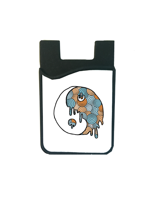 Blue/Orange Trippy Yin Yang Card Caddy