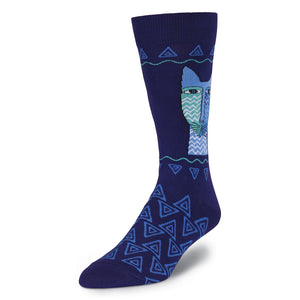 Men's Laurel Burch Blue Felines Crew Socks - XEJRA