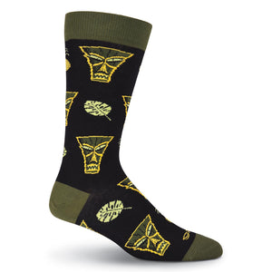 Men's SHAG Tiki Leaves Crew Socks - XEJRA