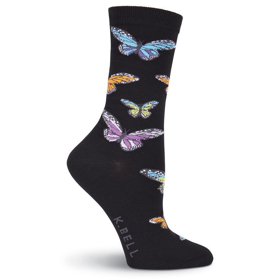 Colorful Crew Socks - Colorful Butterflies Crew Socks