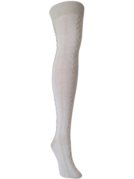 Jord-White Linen Over the Knee sock - XEJRA