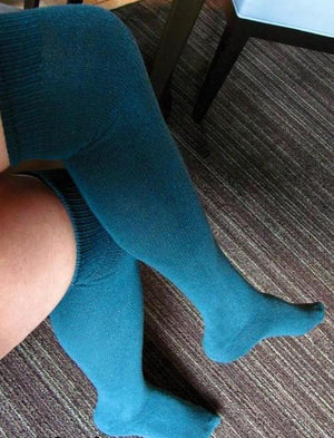 Solid Teal Blue Over the Knee sock - XEJRA