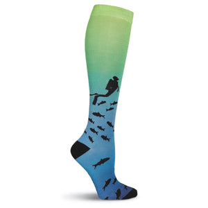 Scuba Diver 360 Print Knee High Socks - XEJRA