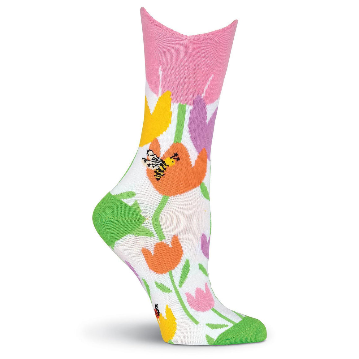 Wide Mouth Crew Socks - Wide Mouth Tulips Crew Socks