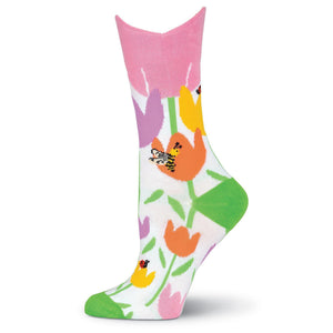 Wide Mouth Tulips Crew Socks - XEJRA
