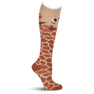 Wide Mouth Knee High Socks - Wide Mouth Giraffe Knee High