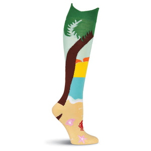 Wide Mouth Palm Tree Knee High Socks - XEJRA