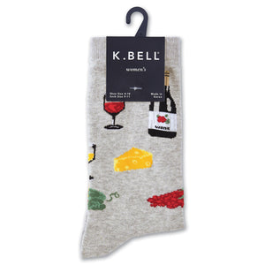 Wine & Cheese Crew Socks - XEJRA