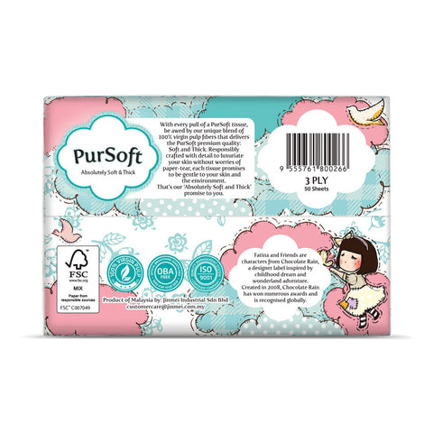 PurSoft 3-Ply Facial Travel Pack 4x50 sheets (Normal/Chocolate Rain)