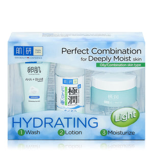 Hada Labo Super Hyaluronic Acid Hydrating Light 123 Trial Set (AHA+BHA Wash 12g + Lotion Light 30ml + Water Gel 14g)