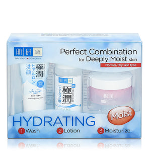 Hada Labo Super Hyaluronic Acid Hydrating Moist 123 Trial Set (Wash 12g + Lotion 30ml + Light Cream 14g)