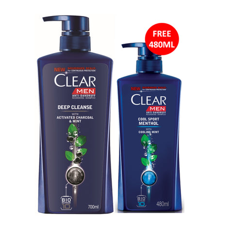 Clear Men Anti-Dandruff Shampoo 700ml + FREE CSM Shampoo 480ml