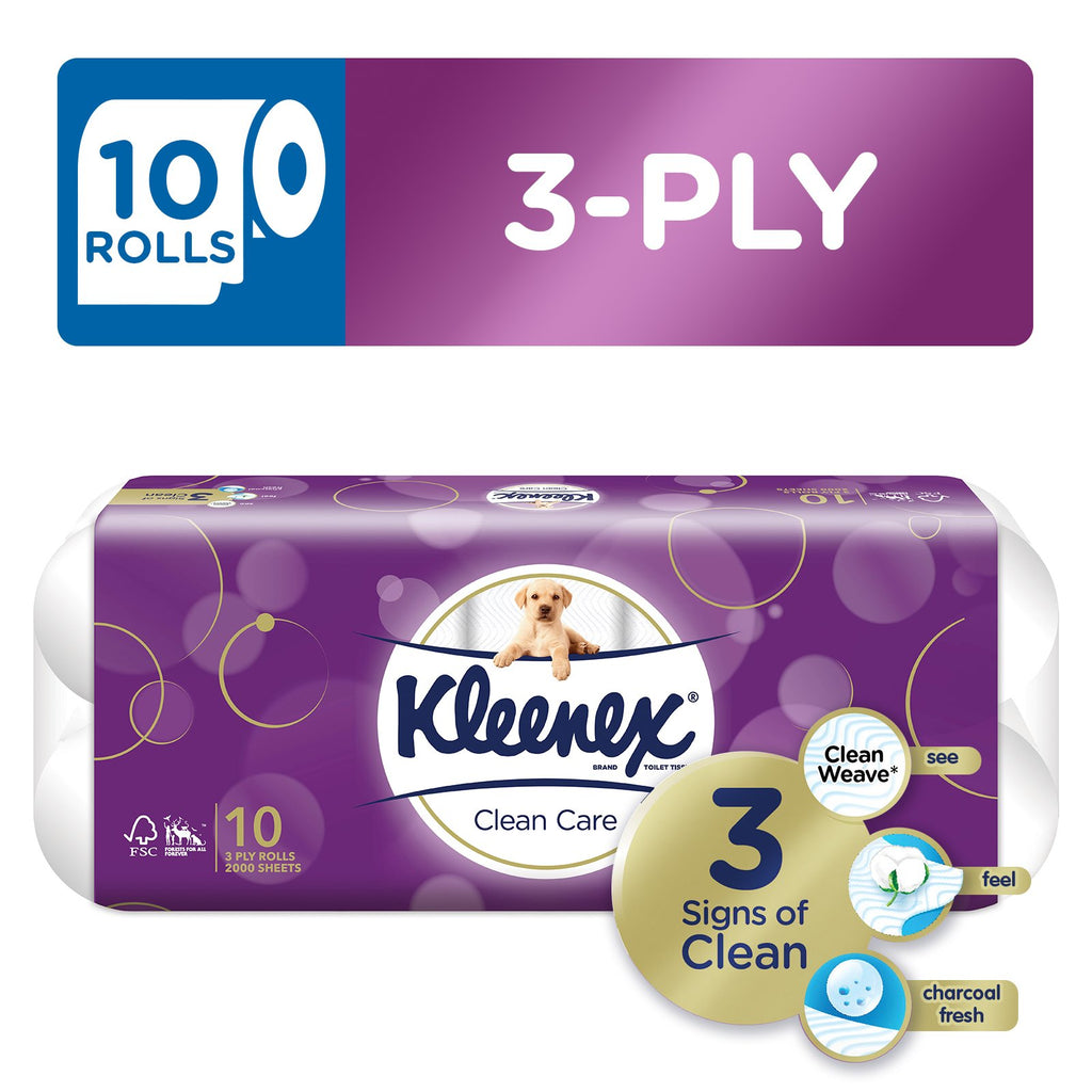 Kleenex Clean Care Bath Tissue Regular 10 x 200sheets
