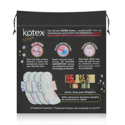 Kotex Pads Luxe Ultra Thin Wing Overnight 28cm 14pcs