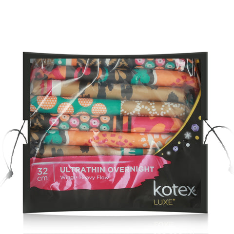 Kotex Pads Luxe Ultra Thin Wing Overnight 32cm 12pcs