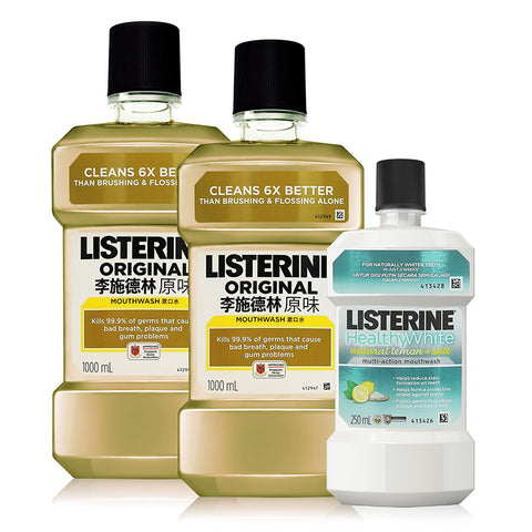 Listerine Mouthwash 1L Twin Pack + Listerine Healthy White 250ml