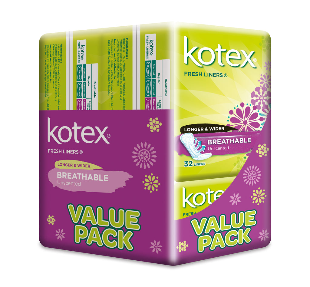 Kotex Fresh Liners Breathable Unscented Longer & Wider 3x32pcs