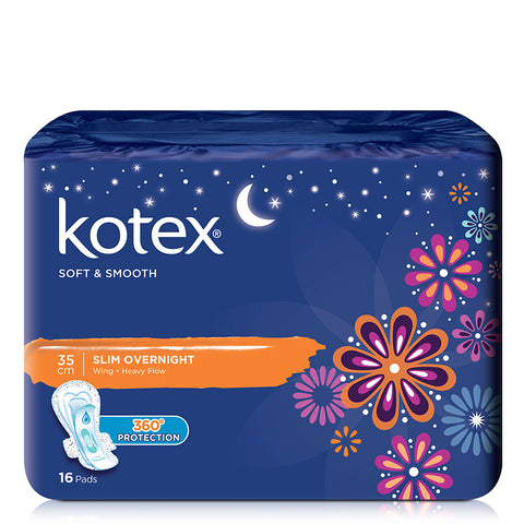 Kotex Pads Soft & Smooth Slim Overnight Wing
