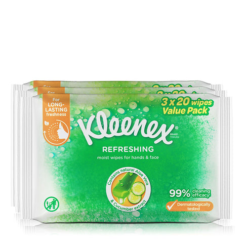Kleenex Refreshing Moist wipes for hands and face 3x20wipes