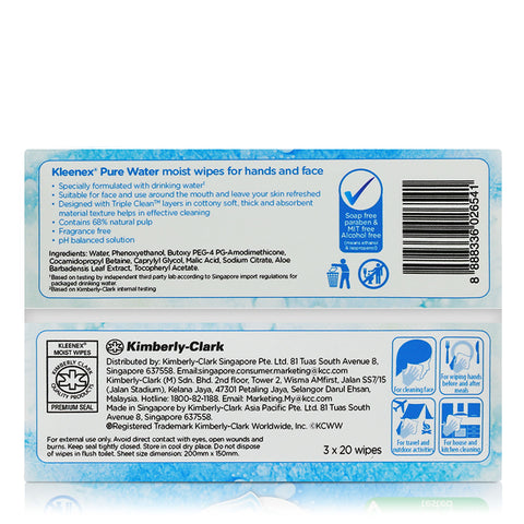 Kleenex Pure Water Moist wipes for hands and face 3x20wipes