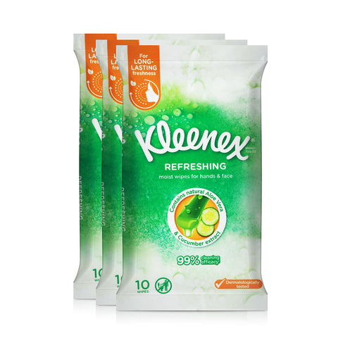 Kleenex Refreshing Moist wipes for hands and face 3x10wipes