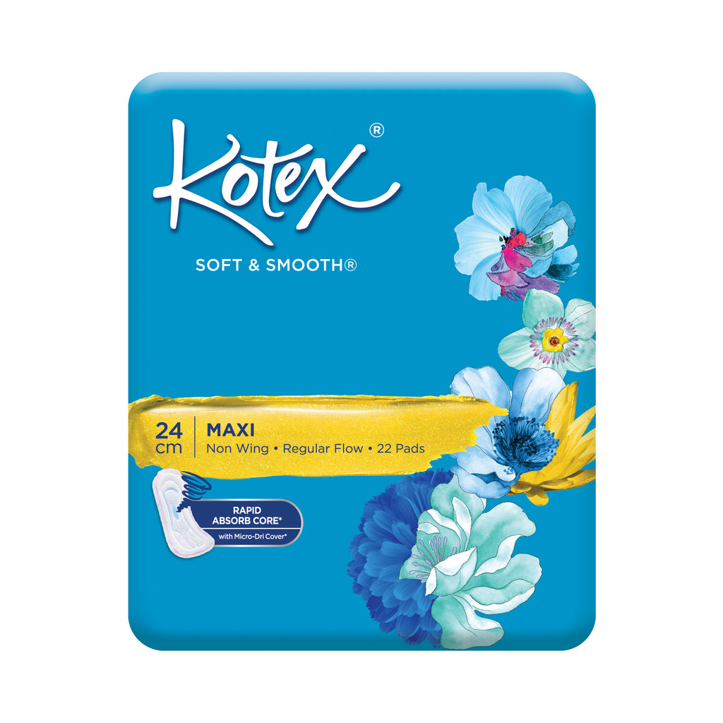 Kotex Soft & Smooth Maxi Wing 24cm Pads 26s