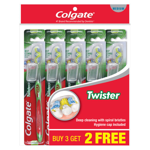 Colgate Twister Medium / Soft Toothbrush Buy 3 Free 2 x 5pc