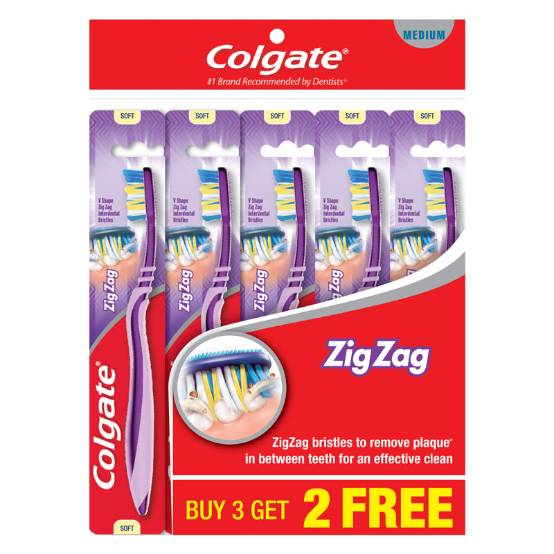 Colgate ZigZag Medium / Soft Toothbrush Buy 3 Free 2 x 5pc