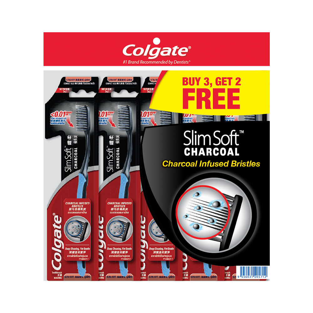 Colgate SlimSoft Charcoal Extra Soft Toothbrush Buy 3 Free 2 x 5pc